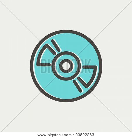 Reel tape deck player recorder icon thin line for web and mobile, modern minimalistic flat design. Vector icon with dark grey outline and offset colour on light grey background.