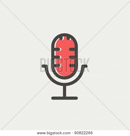 Retro microphone icon thin line for web and mobile, modern minimalistic flat design. Vector icon with dark grey outline and offset colour on light grey background.
