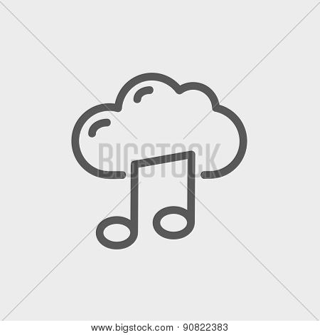 Cloud melody icon thin line for web and mobile, modern minimalistic flat design. Vector dark grey icon on light grey background.