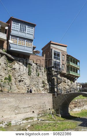 TBILISI, GEORGIA - MAY 01, 2015: Traditional georgian architecture in Abanotubani historical part of Tbilisi located on the rock,Georgia, unesco heritage