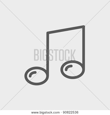 Music note icon thin line for web and mobile, modern minimalistic flat design. Vector dark grey icon on light grey background.