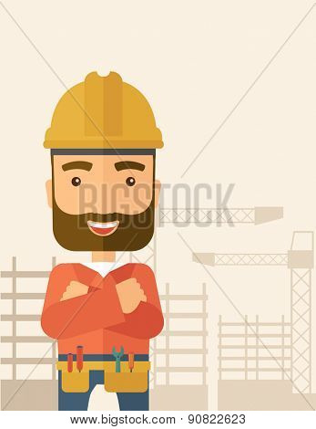 A hipster construction worker wearing hard hat for protection of his head. Working concept. A Contemporary style with pastel palette, soft beige tinted background. Vector flat design illustration