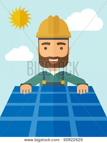 A man putting a solar panel on the roof as a alternative energy system. A Contemporary style with pastel palette, soft blue tinted background with desaturated cloud.  Vector flat design illustration