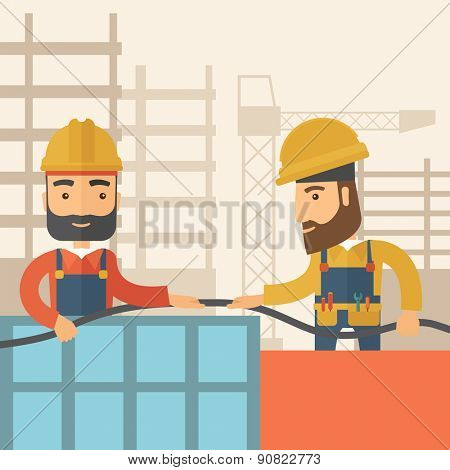 A two hipster builders wearing hard hat for their safety ladders use for construction. A Contemporary style with pastel palette, soft beige tinted background. Vector flat design illustration. Square