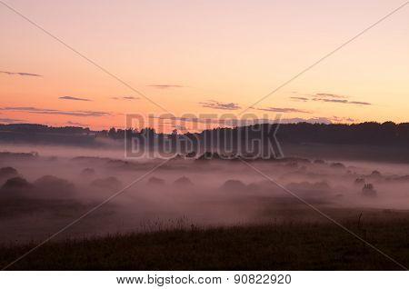 Beautiful Foggy Rural Landscape Before Sunset