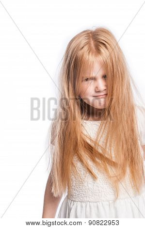 Crazy Young Girl Hiding Behind Lots Of Hair.