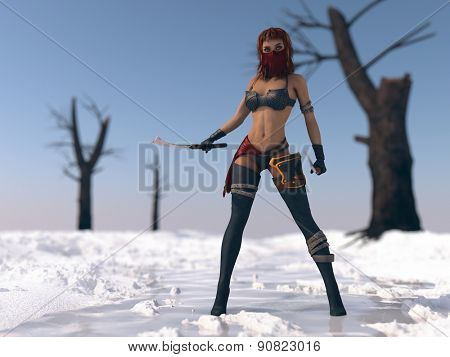 warrior woman in snow scene