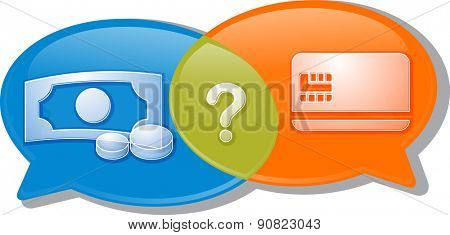Illustration concept clipart speech bubble dialog conversation negotiation argument over choice of cash or credit card for payment vector