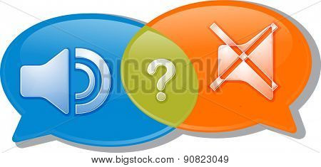 Illustration concept clipart speech bubble dialog conversation negotiation argument loud silent volume vector