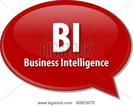 word speech bubble illustration of business acronym term BI Business Intelligence vector