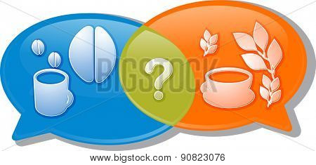 Illustration concept clipart speech bubble dialog conversation negotiation argument over coffee or tea beverage choice vector