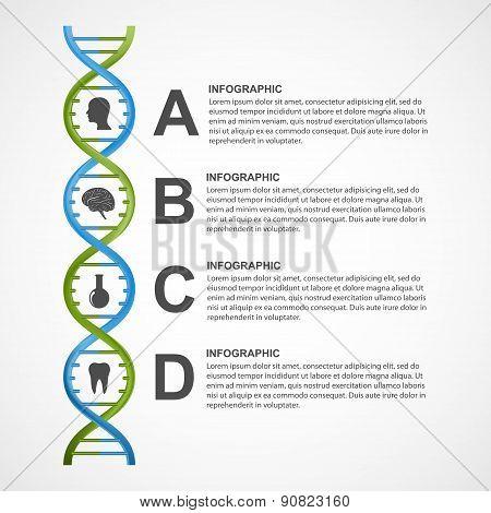 Dna Science Infographics. Vector Design Element.