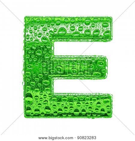 Fresh Green alphabet symbol - letter E. Water splashes and drops on transparent glass. Isolated on white