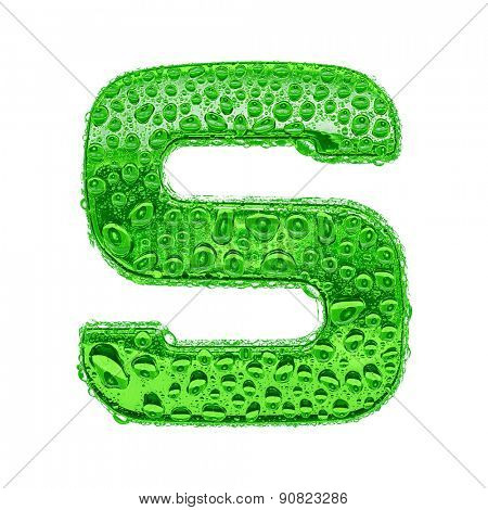 Fresh Green alphabet symbol - letter S. Water splashes and drops on transparent glass. Isolated on white