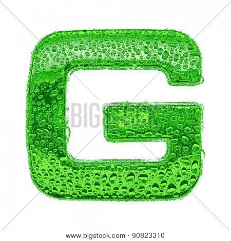 Fresh Green alphabet symbol - letter G. Water splashes and drops on transparent glass. Isolated on white
