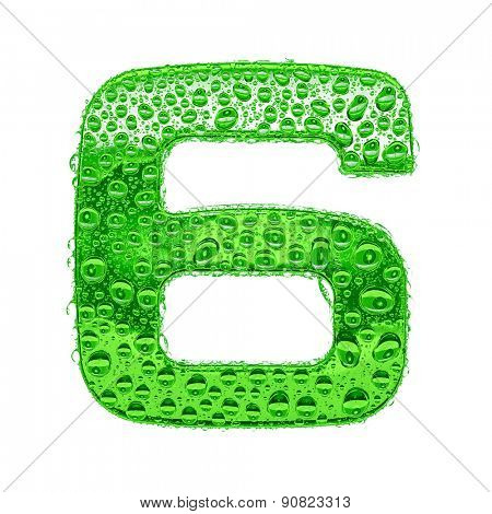 Fresh Green alphabet symbol - digit 6. Water splashes and drops on transparent glass. Isolated on white