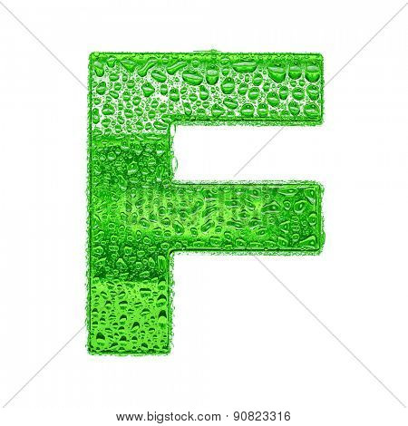 Fresh Green alphabet symbol - letter F. Water splashes and drops on transparent glass. Isolated on white