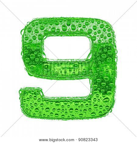 Fresh Green alphabet symbol - digit 9. Water splashes and drops on transparent glass. Isolated on white