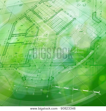 Architecture design: blueprint house plan & blue technology radial background