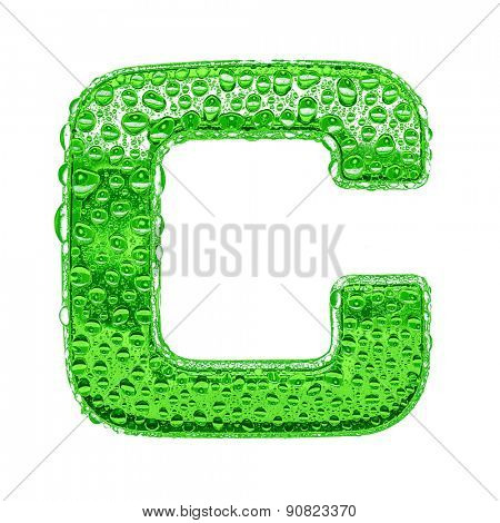 Fresh Green alphabet symbol - letter C. Water splashes and drops on transparent glass. Isolated on white