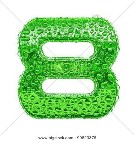 Fresh Green alphabet symbol - digit 8. Water splashes and drops on transparent glass. Isolated on white