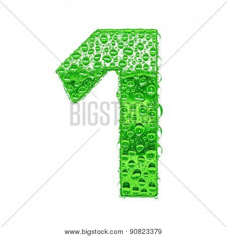 Fresh Green alphabet symbol - digit 1. Water splashes and drops on transparent glass. Isolated on white