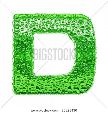 Fresh Green alphabet symbol - letter D. Water splashes and drops on transparent glass. Isolated on white