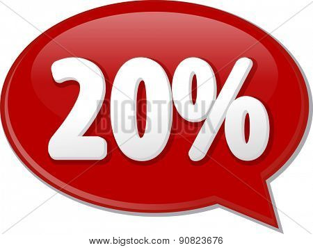 Word speech bubble illustration of discussion forum blog percent discount twenty 20 vector
