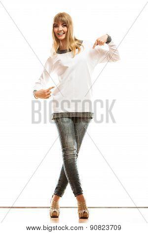 Fashion Woman In Blank White Tshirt