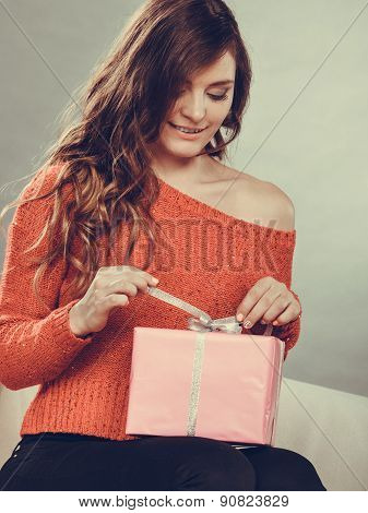 Girl Opening Present Pink Gift Box