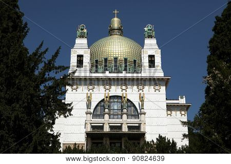 Kirche am Steinhof (1907) designed by Austrian architect Otto Wagner in Vienna, Austria.