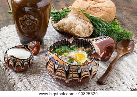 Russian Traditional Okroshka With Kvass