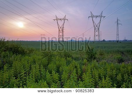 Sunset over High-voltage power lines