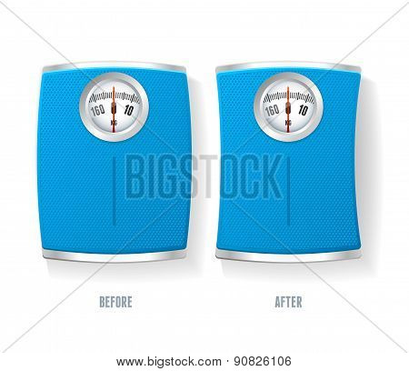 Vector Bathroom Scale set isolated on a white