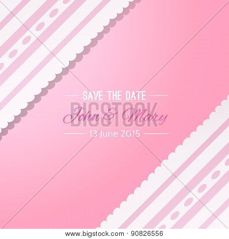 Pink background with vintage realistic pink and white lace