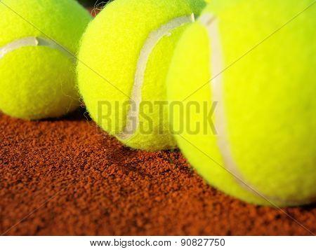 Tennis balls on court,close up