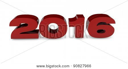 2016 year letters in red 3d