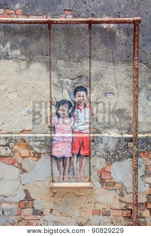 Penang Wall Artwork Named Children On The Swing