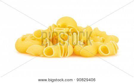 Macaroni italian pasta isolated on white background
