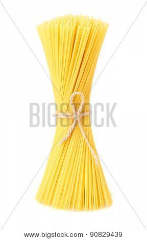 Spaghetti tied up by a rope isolated on white background