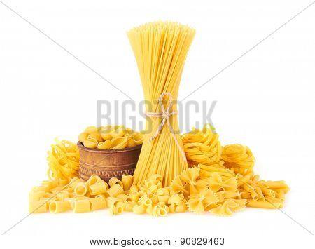 Mix of pasta, isolated on white background