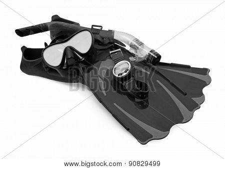 Snorkel, flippers, computer and Mask for Diving, isolated on white background.
