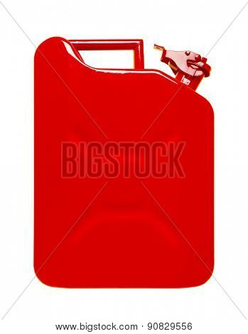 Red jerrycan isolated on white background