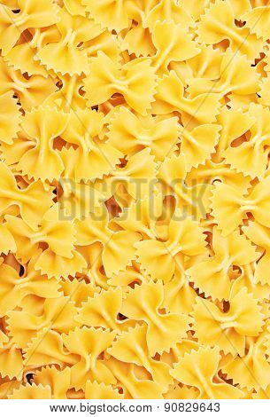 Farfalle bows italian pasta background