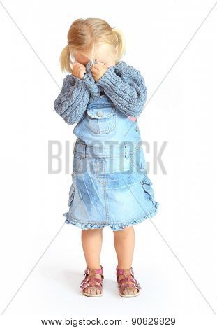 Little girl crying. People isolated on white background.