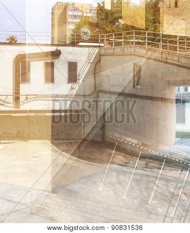Abstract multiple exposure background. Architectural details.