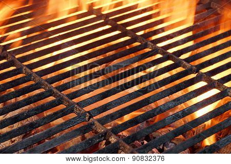 Bbq Flaming Grill And Glowing Coals Close-up