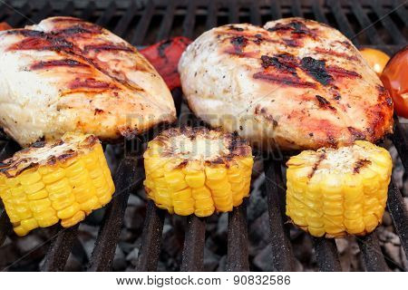 Bbq Roast Chicken Breast On The Hot Grill With Vegetables