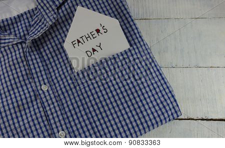 father's day message in a blue shirt pocket