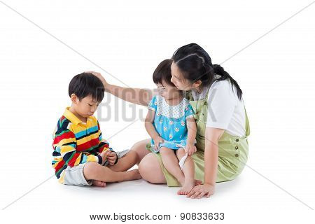 Mother With Two Little Asian (thai) Children (full Body). Isolated On White